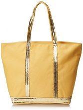 Vanessa Bruno Cabas Medium +zippe Coton Et Paillettes - Borse Tote Donna, Giallo (Soleil Brise), 18x33x48 cm (W x H L)