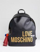 Love Moschino - Zaino con logo e nappa - Nero