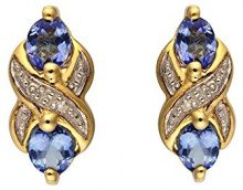 Ivy Gems Donna 9 cts (375) Oro giallo Ovale blu FINEEARRING