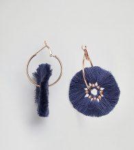Glamourous - Orecchini a cerchio con nappa blu navy - Navy