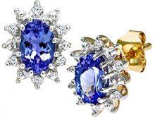 Naava Orecchini a Perno da Donna, Oro Giallo 375/1000 9 Carati, Diamante/Tanzanite