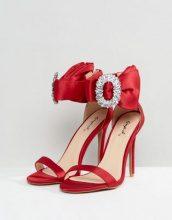 Qupid - Sandali con tacco effetto nudo decorati - Rosso