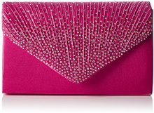 SwankySwans Abby Diamante Envelope Style Bag, Rosa Pink (Rose)