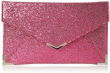 SwankySwansKorie Glitter Envelope Party Prom Clutch Bag - Sacchetto Donna, Rosa (Pink (Fuschia)), Taglia unica