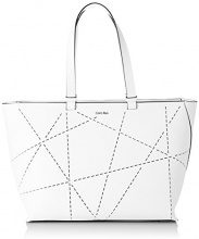 Calvin Klein - Sofie perforated large Tote, Borse da donna, Bianco, taglia OS