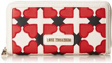 Love Moschino Portaf. Pu Avorio/nero/rosso - Pochette da giorno Donna, Multicolore (Ivory-black-red), 4x11x20 cm (B x H T)