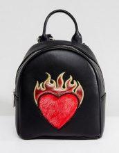 Skinnydip - Zaino piccolo con cuore e fiamme - Nero