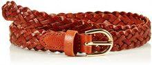 PIECES PCAVERY LEATHER BRAIDED SLIM BELT NOOS, Cintura Donna, Marrone (Cognac), 80 cm