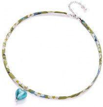 Amanti Venezia Liberty nastro e collana in argento Sterling con cuore in vetro di Murano, colore: foglia di tè, lunghezza: 8,4 45 cm