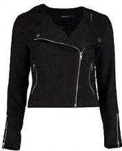 Jessica giacca in stile motociclista in camoscio sintetico