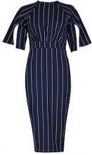 Heather Stripe Split Sleeve Wiggle Midi Dress