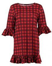 Aura Red Check Curved Frill Hem Shift Dress