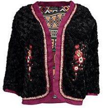 Jenna boutique giacca ricamata in pelliccia sintetica