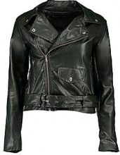 Petite kerry giacca in stile motociclista in poliuretano con cintura