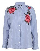 Rose boutique camicia a righe con applique floreali