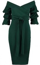 Gia Off the Shoulder Sleeve Detail Midi Dress