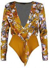 Petite Gemma Velvet Floral Plunge Bodysuit