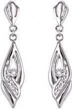 Bijoux pour tous 9K8340GRB - Orecchini pendenti in oro bianco da 9 carati, con brillantini