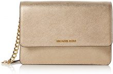 Michael Kors Gusset Lg Crossbody - Borse a tracolla Donna, Oro (Pale Gold), 8x18x24 cm (W x H L)