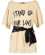 Lydia T-shirt con pizzo allacciato in vita e slogan