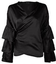 Tall Eliza Satin Tiered Sleeve Wrap Shirt
