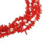Moderno, elegante, corallo rosso e perle d'acqua dolce bianche, collana 40 cm + 7 cm di estensione, spediti in una lussuosa scatola-regalo