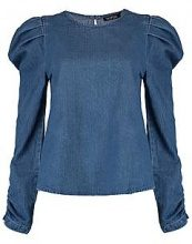 Polly top in denim con maniche a palloncino