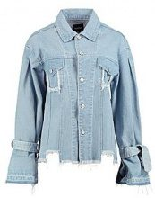 Fern Longline Tie Sleeve Distressed Denim Jacket