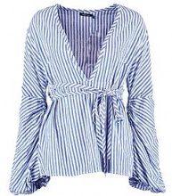 Maisie Stripe Wide Cuff Woven Blouse