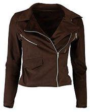 Petite Sasha Suedette Zip Detail Biker Jacket