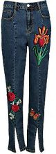 Corrine Split Seam Front Embroidered Skinny Jeans