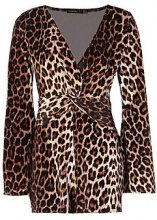 Petite Freya Flare Sleeve Leopard Print Playsuit
