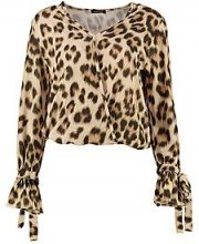 Tyler Leopard Printed Wrap Over Blouse