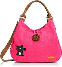 SwankySwansCamden Cat Button - Sacchetto donna, rosa (Pink (Fuschia)), Taglia unica