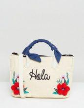Skinnydip - Maxi borsa in paglia con pompon floreali - Beige