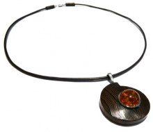 Goldmajor - Collana in argento Sterling 925 con pendente in legno e ambra, collezione Earthlink, 45 cm