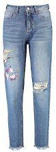 Tall freya jeans ricamati con motivo orientale