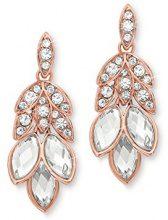 Noelani orecchini da donna con Swarovski Elements 38mm in oro rosa, in ottone parzialmente placcato oro cristallo bianco–528146