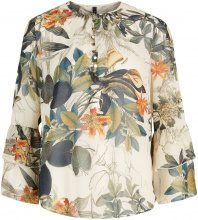 Y.A.S Floral Flounced Wide Sleeved Shirt Women Green