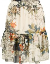 Y.A.S Floral Tiered Lined Mini Skirt Women Green
