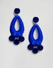 ASOS - Orecchini pendenti avvolti in tessuto con sfera in velluto - Blu