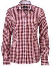 James & Nicholson Ladies' Checked Blouse, Blusa Donna, Rot (Bordeaux/White), 40