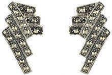 Esse Marcasite-Anello in argento Sterling, con Marcasite-Orecchini stile Art Deco, lunghezza 2 cm