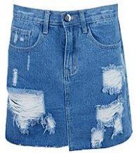 Helen gonna di jeans con fondo asimmetrico e non rifinito