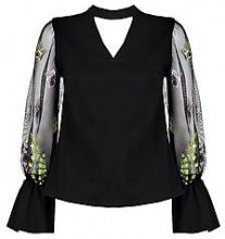 Ellie Floral Embroidered Choker Woven Blouse