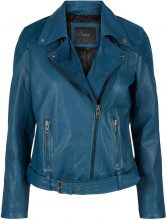 Y.A.S Blue Biker Leather Jacket Women Blue