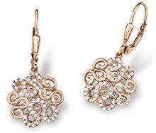 Amor - orecchini per donna, motivo ornamentale, argento 925 placcato oro con zirconi bianchi - 513302