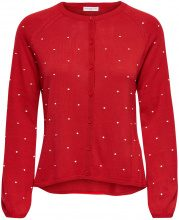 ONLY Dotted Knitted Cardigan Women Red