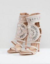 Public Desire - Cleopatra - Sandali rosa oro in raso decorato con tacco - Oro