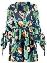 Daisy Ruched Sleeve Wrap Front Shirt Dress